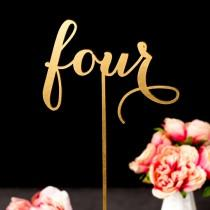 wedding photo - Gold Wedding Table Numbers - Freestanding with base - Wedding Table Numbers in Rose Gold - Soirée Collection