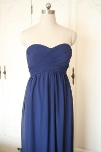 wedding photo - Navy Blue Sweetheart Short/Floor-length Bridesmaid Dress Navy Chiffon Strapless Dress-Custom Dress