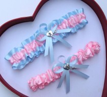 wedding photo - Wedding Garter,Baby Pink Light Blue Wedding Garters Prom Something Blue
