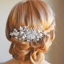 wedding photo - Bridal Hair Comb, Wedding Hair Accessories, Flower Leaf Crystal Hair Comb, Vintage Style Bouquet Head Piece, Swarovski Pearl Comb - GLORIA