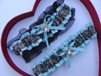 wedding photo - New Aqua Blue Mossy Oak Black Camouflage Camo Wedding Garter Prom GetTheGoodStuff Deer