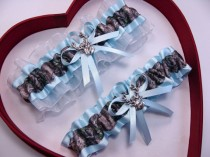 wedding photo - Wedding Garters Mossy Oak Light Blue Camouflage Camo Set Keepsake Toss Plus Size Wedding Garters Hunting Prom Deer