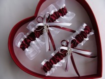 wedding photo - Wedding Garter, Burgundy White - Wedding Garter Set, Select Keepsake Garter Toss Garter Plus Size Garter