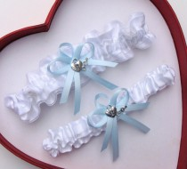 wedding photo - New Wedding Garter White Light Blue Wedding Garter Prom Heart With Key Deer Handcuffs Anchor Horseshoe Butterfly Motorcycle