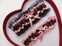 wedding photo - Wedding Garters Camouflage Light Pink Black Camo army Set Keepsake Toss Plus Size Wedding Garters Hunting Prom Gun