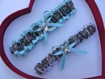 wedding photo - New Aqua Blue Mossy Oak Camouflage Camo Wedding Garter Prom GetTheGoodStuff