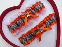 wedding photo - New Orange Mossy Oak Orange White Camouflage Camo Wedding Garter Hunting Deer Hunter Chick Prom GetTheGoodStuff
