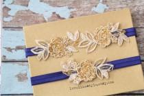 wedding photo - Light Gold and Tan Embroidery Flower Lace with Navy Elastic Wedding Garter Set, Tan Garter Set, Toss Garter ,Wedding Garter Belt/ GT-34