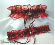 wedding photo - FALL AUTUMN Wedding garters Sterling Silver Maple Leaf Garter set
