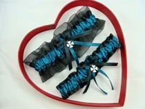 wedding photo - Wedding Garters Teal Black Wedding Garter Set, Select - Keepsake Garter, Toss Garter, Plus Size Garter - Four leaf clover