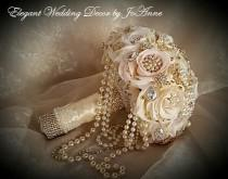 wedding photo - VINTAGE BROOCH BOUQUET, Deposit for a Cascading Pearl Blush Ivory Rose Gold Brooch Bouquet, Jeweled Bouquet, Rose Gold, Brooch Bouquet