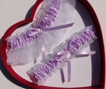 wedding photo - New Wedding Garter Lavender White Wedding Garter Prom Double Heart Deer Handcuffs Anchor Horseshoe Butterfly