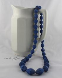 wedding photo - Collana lunga con perle di carta,long necklace, blu cobalto, pearl paper, perle di cartoncino ondulato, idea regalo, handmade, made in Italy