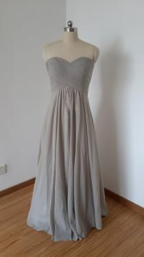 wedding photo - 2015 Sweetheart Light Grey Chiffon Long Bridesmaid Dress