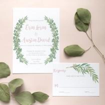 wedding photo - Floral wreath, eucalyptus greenery, laurel greenery custom Wedding invitation sample (printed)
