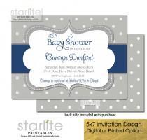wedding photo - Navy Blue and Grey Baby Shower Invitation Boy Polka Dots Printable
