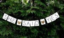 wedding photo - She said yes banner, engagement party banner, engagement party decor, nautical wedding decor,