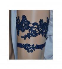 wedding photo - Navy Blue Lace Wedding Garter Set, Something Blue Bridal Garter Set, Navy Blue Floral Lace Bridal Garter Set, Blue Wedding Garter Belt