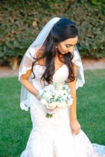 wedding photo - French Alencon Lace Fingertip Veil, Fingertip Wedding Veil, Lace Wedding Veil, Lace Veil Fingertip -Lace Bridal Veil, Ivory Veil Scallop Lac