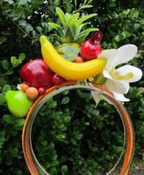 wedding photo - Tropical Fruits and  white Orchids Headband - Carmen Miranda style -
