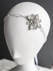 wedding photo - Bridal Headband, Crystal Wedding Hair Accessories, Victorian Style Oval Rhinestone Silk Ribbon Hairband, Art Deco Wedding Headpiece, ARELY