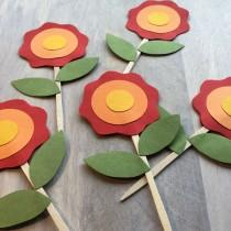 wedding photo - Red Flower Cupcake Toppers