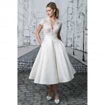 wedding photo - Style 8881 by Justin Alexander - Short sleeve V-neck Ballgown LaceSilk Tea-length Dress - 2017 Unique Wedding Shop