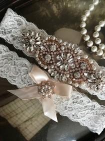 wedding photo - SALE-Wedding Garter-Garters-Ivory-ROSE GOLD-Gold-Rose Gold Applique-Garter-Rhinestone-Pearl garter-Keepsake-Ivory-bridal white-off-white