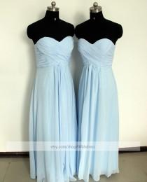 wedding photo - Strapless Sweetheart Light Sky Blue Bridesmaid Dress/ Ruched Long Bridesmaid Dress/ Wedding Party Dress/ Floor Length Mismatch Dress
