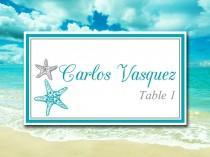 "wedding photo - Beach Wedding Place Card Template Printable Escort Card Template - ""Blissful Starfish"" Ocean Silver DIY Wedding - Wedding Reception Seating"