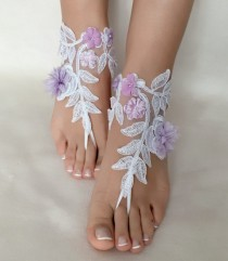 wedding photo -  White lilac flowers lace barefoot sandals, FREE SHIP, beach wedding barefoot sandals, lace shoes, wedding shoe, bridesmaid gift, beach