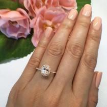 wedding photo - New! 1 ctw, 3/4 ct Oval Halo Engagement Ring, Classic Halo Ring, Man Made Diamond Simulants, Wedding Ring, Sterling Silver, Rose Gold Plated
