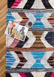 """Vintage Moroccan Boucherouite Kilim Rug, """"The Finch,"""" Pastel Rug, Pink Rug, Boho Rug, Berber Rug, Bohemian, Nursery Rug, Kids Rug"""