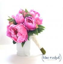 wedding photo - Hot Pink Peony Bouquet, Peony Wedding Bouquet, Hot Pink Peonies, Pink Peonies, Silk Peonies, Pink, Bright Pink