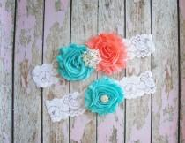 wedding photo - SALE Garter Set, Wedding Garter, Coral Toss Garter, Lace Garter, Aqua Bridal Garter, Something Blue, White Lace