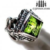wedding photo - Silver Wedding Ring Victorian Gothic Engagement Band Green Peridot Cocktail Ring Raven Love Size 6