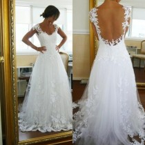 wedding photo -  Amazing A-Line Lace White Straps Wedding Dress for Bridal from Dressywomen