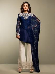 wedding photo - Zainab Chottani midnight blue madness, master replica chiffon dress, Indian/pakistani/bengali formal shalwar kameez, luxury pret,