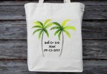 wedding photo - Wedding Tote, Personalized Wedding Tote, Canvas Cotton Tote, Destination Wedding, Tropical Wedding, Hawaii Wedding, Palm Tree Tote