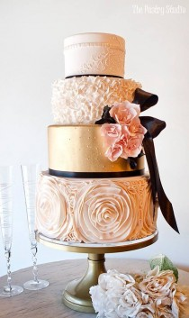 wedding photo - Three Tier Pink And Gold Wedding Cake