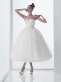 wedding photo - Retro 50s Strapless Tulle Ballerina Tea Length White Tulle Wedding Dress