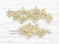 wedding photo - Gold garter set, lace wedding garter set, bridal garter, gold wedding - style #479 set