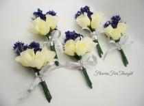 wedding photo - Lavender and Rose Boutonnieres, White Rosebud Groomsmen Lapel Flowers, Wedding Guest Decoration
