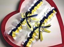 wedding photo - New Navy Blue Yellow White Wedding Garter US Navy Nautical Marine Military Prom