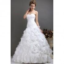 wedding photo - Chic A-Line Sweetheart Court Train Organza Sleeveless Lace up-Corset Wedding Dress CWLT13042 - Top Designer Wedding Online-Shop