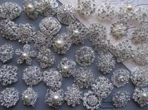 wedding photo - 10-100 Brooch Lot Rhinestone Pearl Mixed Silver Pin Wholesale Crystal Wedding Brooch Bouquet Bridal Button Embellishment Hair Cake Shoe DIY