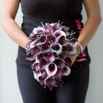 wedding photo - Calla lily bouquet, cascading bridal bouquet, plum wedding bouquet, real touch calla lilies, cascading wedding bouquets, eggplant purple