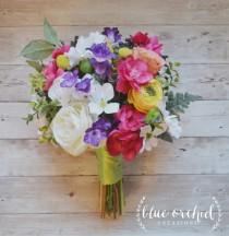 wedding photo - Spring Wedding Bouquet - Colorful Wedding Bouquet, Bright Bouquet, Silk Wedding Bouquet, Wildflower Wedding Bouquet