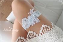 wedding photo - Flower Wedding Garter, Lace Garter, Baby Blue Bridal Garter,Something blue,Beaded Garter-G148blue