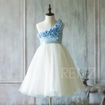 wedding photo - 2016 Off White Junior Bridesmaid Dress, Flower Flower Girl Dress, Light blue Flower neck Rosette dress, Puffy dress (HK116)